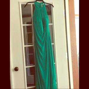 David's bridal green bridemaids dress